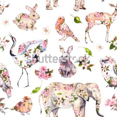 Naklejka Słodkie zwierzęta w różowe wiosenne kwiaty. Kwiatowy wzór. Kobieca, dziewczęca akwarela