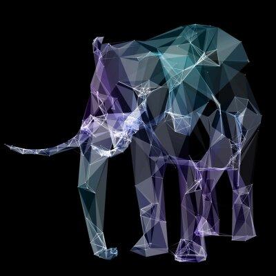 Naklejka Słoń w projektowaniu wielokąta. Cyfrowe ilustracji. Pojęcie