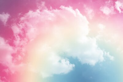 Naklejka słońce i chmura w tle z pastelowym kolorze
