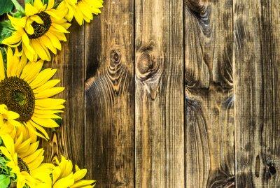 Naklejka Słoneczniki na tle tamtejsze drewna. Kwiaty tła z kopiowaniem miejsca