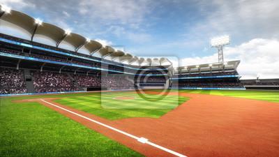 słoneczny Baseball Stadium z fanami w świetle dziennym