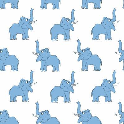Słonia bezszwowy wzór. Wektor na białym tle.