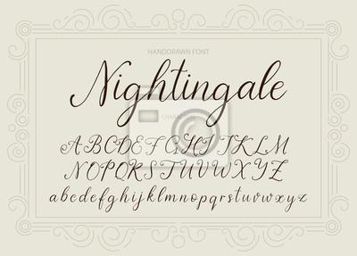 Słowik. Handdrawn kaligraficzna wektorowa chrzcielnica. Vintage delikatne kaligrafii.