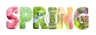 Naklejka Słowo Wiosna z kolorowymi obrazami przyrody wewnątrz litery,