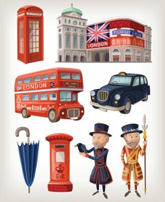 Naklejka Słynne zabytki Londyn i elementy retro architektury miasta
