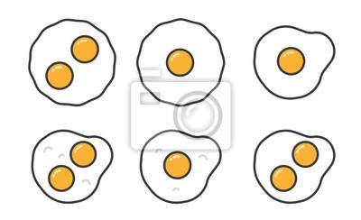 Smażone Jaja Słodkie W Górę Minimalistyczne Kolor Płaskie Ułożenie Linii Ikona Stroke Piktogram Zestaw Zestawów Symbolów
