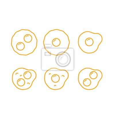 Smażone Jaja Sunny Side Up Minimalistyczny Flat Line Outline Ikona Stroke Piktogram Symbol Set Collection