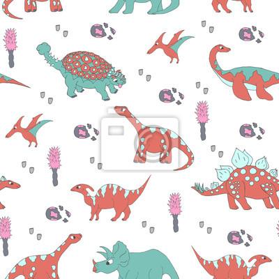 Śmieszne dinozaury. wektor ilustracja wzór