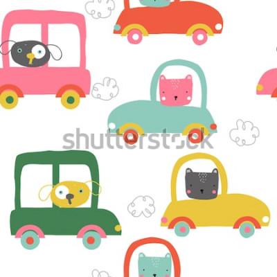 Naklejka Śmieszne zwierzęta w samochodach wzór. Drukuj słodkie dzieci. Wektorowa ręka rysująca ilustracja.