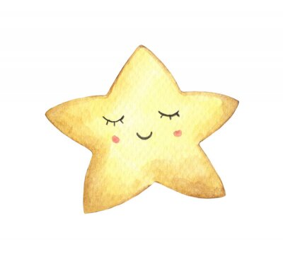 Naklejka Smile face in the shape of star. Isolated on white background. Hand drawn watercolor illustration.