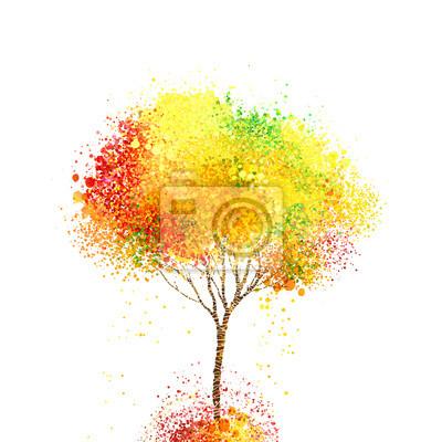 smukła jesienią abstrakcyjne drzewa tworząc czerwone, żółte, pomarańczowe okręgi i plamy