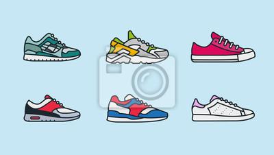 Sneaker Shoe Minimalistyczny kolor Flat Line Outline Ikona Obrysu Ikona Piktogramu