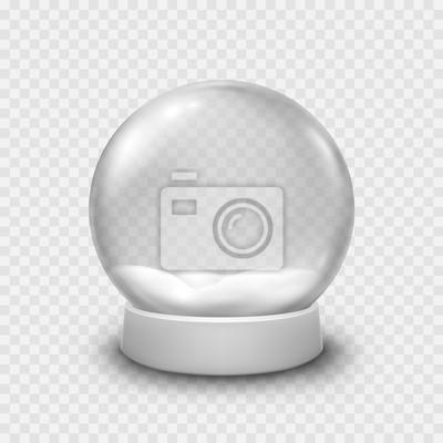 Śnieżna kula ziemska lub Bożenarodzeniowa piłka odizolowywająca na przejrzystym tle. Wektorowy szklany snowball szablon.