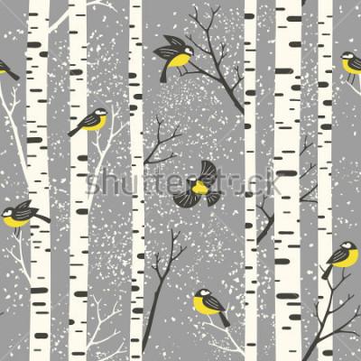 Naklejka Śnieżni brzoz drzewa, ptaki na szarym tle i. Połączony wektor wzór. Idealny do tkanin, tapety, giftwrap lub pocztówek.