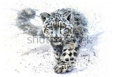 Naklejka Snow leopard animals watercolor predator wildlife