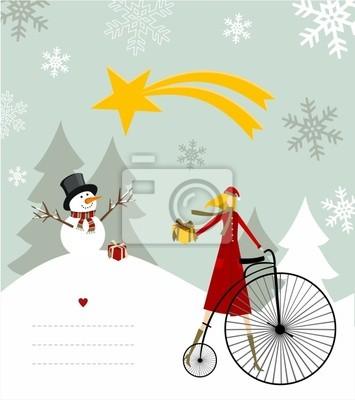 Snowman i gwiazda karty Betlejem.