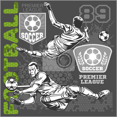 Soccer and football players plus emblems for sport team
