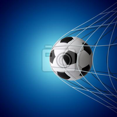 Soccer ball in goal on blue