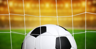 Soccer ball in goal on stadium