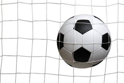 Soccer ball in goal on white