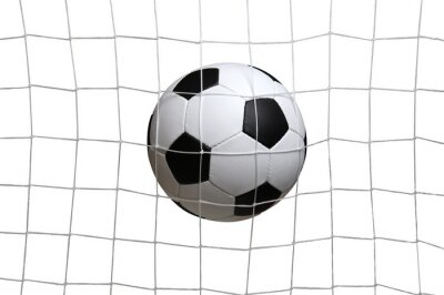 soccer ball in the net on a white