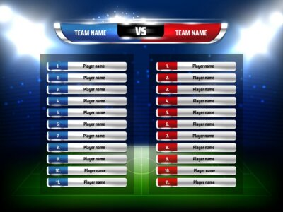 Naklejka Soccer football game scoreboard realistic template. Football league championship game players list, soccer pitch and stadium spotlights 3d vector. Sport tournament team composition information board