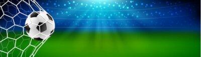 Naklejka Soccer football in the goal net with stadium background. european or world championship. vector illustration banner
