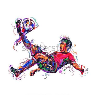 Naklejka soccer player colorful kicks / art