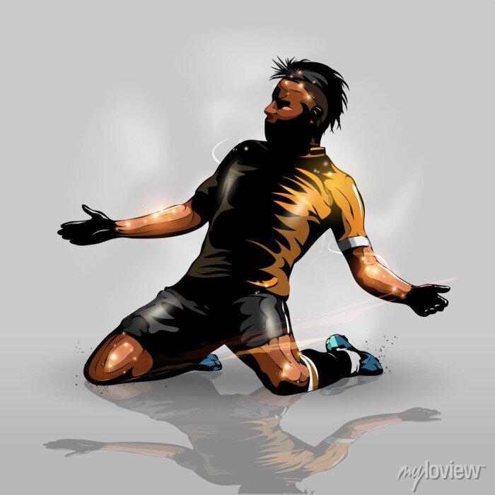 Naklejka soccer player scoring goal