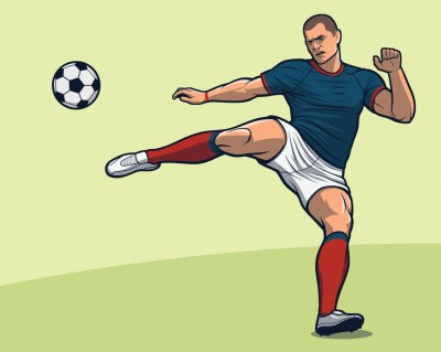 Soccer player volley kick