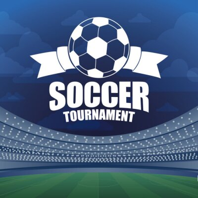 soccer sport emblem poster with balloon