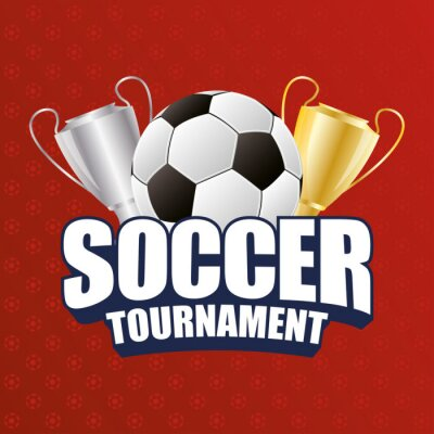 soccer sport emblem poster with balloon and trophy