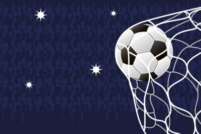 soccer sport emblem poster with balloon in goal net