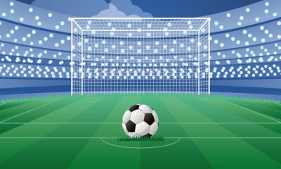 soccer sport emblem poster with balloon in penalty point