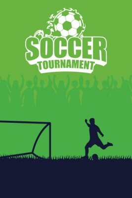 soccer sport emblem poster with player kicking penalty