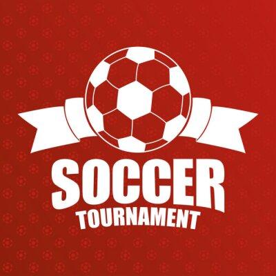 soccer sport emblem poster with ribbon