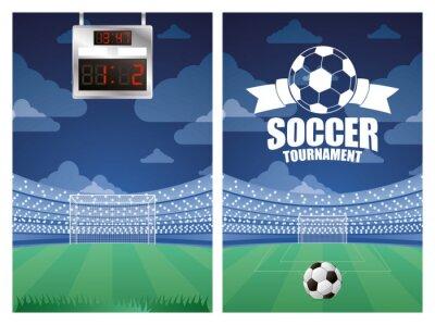 soccer sport emblem poster with stadium scene