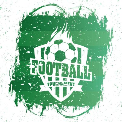 soccer sport green poster with balloon emblem