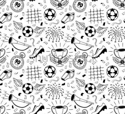 Naklejka Soccer vector background. Vector illustration of seamless football wallpaper pattern for your design