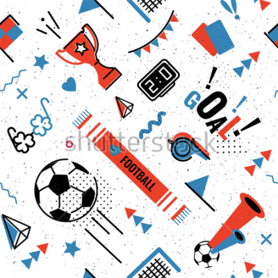 Naklejka Soccer/football abstract background in 80s memphis style. Seamless memphis pattern for posers and cards. Vector illustration