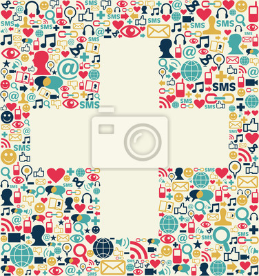 Social media Plus tekstury znak