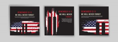 Naklejka Social media post template to commemorate the September 11 attacks. Patriot day USA Never forget 9/11 poster.