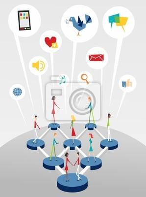 Naklejka Social networking interactive web