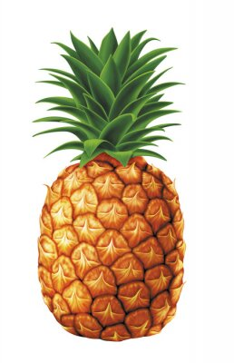 Naklejka soczyste świeże krople wody z ananasem na białym tle