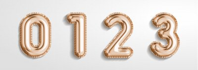 Naklejka Soft rose Gold balloon number 0, 1, 2, 3 realistic 3d render air balloon. Collection of balloons number ready to use. Holiday and party. 3d vector icon set. Foil balloon number zero isolated on white