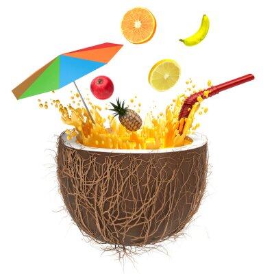 Naklejka Sok wieloowocowy do kokosa ze słomką i sprayu