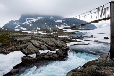 Sommerbrücke im Hardangervidda Narodowy w Norwegen