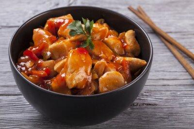 Naklejka Sos słodko-kwaśny kurczak chiński