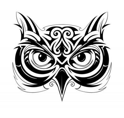 Naklejka Sowa głowy tatuaż
