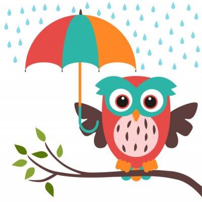Naklejka Sowa i parasol deszcz
